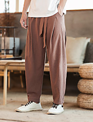 cheap -Men's Streetwear Woven Pants Athletic Pants / Trousers Bottoms Harem Sport Jogging Thermal / Warm Lightweight Breathable Plus Size Black Grey Khaki Coffee Solid Colored Fashion / Quick Dry