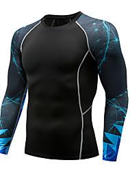 Недорогие -Муж. Компрессионная футболка Длинный рукав компрессия Основной слой Футболка Верхняя часть Большие размеры Легкость Дышащий Быстровысыхающий Мягкий Впитывает пот и влагу Черный Темно-серый Темно-синий
