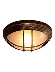 cheap -1-Light Vintage Metal Octagon Ceiling Light Antique Bronze Metal Ceiling Lighting Fixture with Frosted Glass Shade Flush Mount Ceiling Lamp