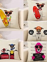 Недорогие -5 штук Хлопок / Лён Наволочка Наволочки, С собакой 3D-печати Животное Квадрат Высокое качество