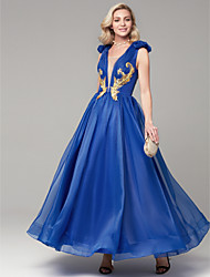 cheap -A-Line Elegant Prom Formal Evening Dress Plunging Neck Sleeveless Floor Length Organza Satin with Appliques 2020