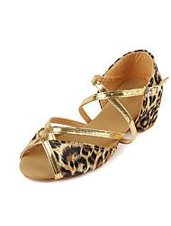 Недорогие -Девочки Танцевальная обувь Сатин Обувь для латины На каблуках Толстая каблук Цвет-леопард / Выступление / Тренировочные
