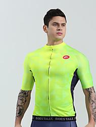 abordables -BOESTALK Homme Manches Courtes Maillot Velo Cyclisme Vert Menthe Vert / jaune. Vert Cyclisme Chemise Maillot Vêtements de Compression / Sous maillot VTT Vélo tout terrain Vélo Route Evacuation de