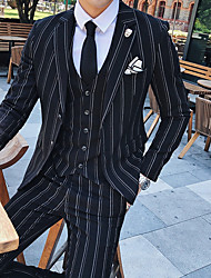 cheap -Tuxedos Tailored Fit / Standard Fit Notch Single Breasted Two-buttons Wool / Polyester Stripes