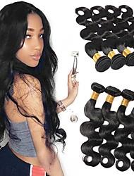 Недорогие -4 Связки Перуанские волосы Естественные кудри человеческие волосы Remy 200 g Человека ткет Волосы Пучок волос Накладки из натуральных волос 8-28 дюймовый Естественный цвет Ткет человеческих волос