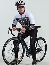 cheap -BOESTALK Men's Long Sleeve Cycling Jersey with Bib Tights White Black Skull Bone Bike Clothing Suit Thermal / Warm Breathable Back Pocket Winter Sports Fleece Skull Mountain Bike MTB Road Bike Cycling