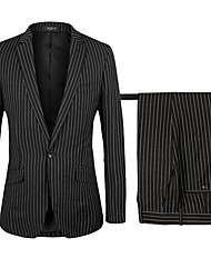 cheap -Black Striped Standard Fit Polyster Suit - Notch Single Breasted One-button / Suits