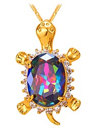 cheap -Women's Multicolor AAA Cubic Zirconia Pendant Necklace Turtle Fashion Brass Gold Silver 55 cm Necklace Jewelry 1pc For Gift Daily