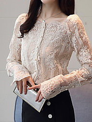cheap -2019 New Arrival Shirts Women's Shirt - Solid Colored Lace Square Camisas Mujer Chemise Femme Neck White L