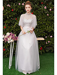 cheap -Sheath / Column Scoop Neck Long Length Tulle Bridesmaid Dress with Appliques
