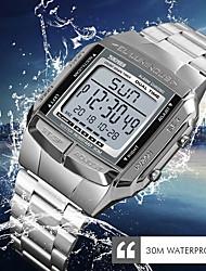 cheap -SKMEI Men's Dress Watch Japanese Digital Stainless Steel Black / Silver / Gold 30 m Water Resistant / Waterproof Calendar / date / day Stopwatch Digital Casual Fashion - Silver Coffee Rose Gold