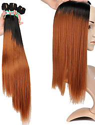 cheap -Laflare Ombre Synthetic Extentions Straight Synthetic Hair Medium Length Hair Extension Hair weave 3 Pieces Cosplay Adjustable Best Quality Women's Christmas Wedding Halloween