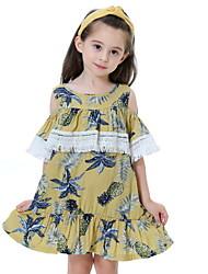 cheap -Kids Girls' Boho Floral Tassel Short Sleeve Knee-length Dress Blue