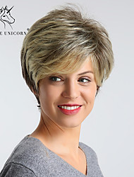 cheap -Synthetic Wig Straight Pixie Cut Layered Haircut Wig Blonde Short Light golden Synthetic Hair 12 inch Women's Synthetic Best Quality Highlighted / Balayage Hair Blonde BLONDE UNICORN