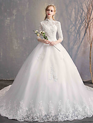 cheap -Ball Gown High Neck Chapel Train Lace / Tulle / Lace Over Satin Half Sleeve Made-To-Measure Wedding Dresses with Appliques / Lace 2020 / Bell Sleeve