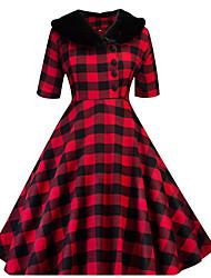 Недорогие -Жен. С летящей юбкой Платье - Рукав до локтя Красный Зеленый S M L XL XXL