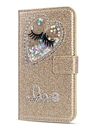 cheap -Case For Samsung Galaxy A5(2018) / A6 (2018) / A6+ (2018) Wallet / Card Holder / Rhinestone Full Body Cases Heart / Glitter Shine / Rhinestone Hard PU Leather