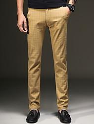 abordables -Homme Rétro Vintage / Travail Grandes Tailles Quotidien Chino Pantalon - Pied-de-poule Bleu Marine Gris Kaki 34 36 38