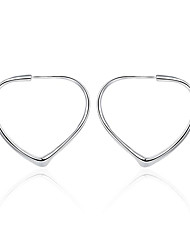 cheap -Women's Hoop Earrings Earrings Classic Heart Trendy Fashion Cute Elegant Silver Plated Earrings Jewelry Silver For Birthday Engagement Gift Daily Date 1 Pair