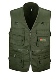 cheap -Men's Daily Basic Fall Regular Vest, Solid Colored V Neck Sleeveless Polyester Black / Army Green