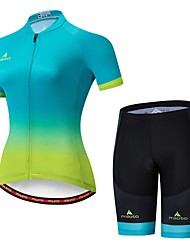 cheap -Miloto Women's Short Sleeve Cycling Jersey with Shorts Bule / Black Bike Jersey Padded Shorts / Chamois Clothing Suit Breathable Moisture Wicking Reflective Strips Sports Lycra Multi Color Clothing
