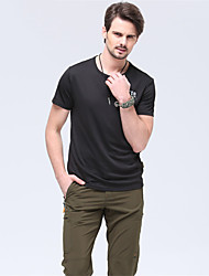 cheap -Men's Solid Color Hiking Tee shirt Short Sleeve Outdoor Breathable Fast Dry Stretchy Tee / T-shirt Top Summer Terylene Crew Neck Army Green Hunting Military / Tactical Camping / Hiking / Caving
