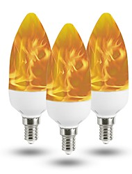 cheap -3pcs 3 W LED Globe Bulbs LED Candle Lights 150 lm E14 T 40 LED Beads SMD 2835 Decorative Christmas Wedding Decoration Flame Flickering Warm Yellow 85-265 V / RoHS / FCC