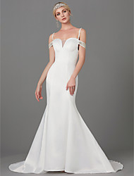 cheap -Mermaid / Trumpet Wedding Dresses Spaghetti Strap Court Train Satin Sleeveless with Buttons Beading 2021