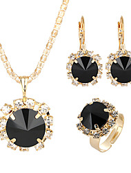 cheap -Women's Crystal Drop Earrings Pendant Necklace Bridal Jewelry Sets Sun Classic Elegant Rhinestone Earrings Jewelry Black / White / Green For Wedding Ceremony Festival 4pcs / pack / Open Ring