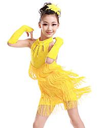 Недорогие -Латино Детская одежда для танцев Платье С кисточками Стразы Девочки Учебный Выступление Без рукавов Полиэстер