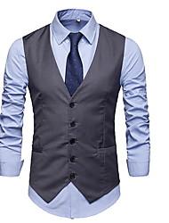 cheap -Men's Work Plus Size Regular Vest, Solid Colored V Neck Sleeveless Polyester Black / Gray / Slim