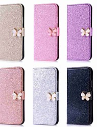 cheap -Case For Apple iPhone XS / iPhone XR / iPhone XS Max Wallet / Card Holder / Rhinestone Full Body Cases Solid Colored / Glitter Shine / Rhinestone Hard PU Leather