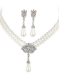 cheap -Women's Drop Earrings Pendant Necklace Retro Classic European Elegant Imitation Pearl Rhinestone Earrings Jewelry Silver For Party Ceremony Festival 3pcs / pack