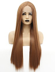 cheap -Synthetic Lace Front Wig Straight Jenner Middle Part Lace Front Wig Long Auburn Synthetic Hair 22-26 inch Women's Heat Resistant Women Hot Sale Brown / Glueless