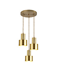 cheap -3-Light 12 cm Pendant Light Metal Electroplated Contemporary Artistic 110-120V 220-240V