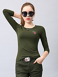 cheap -Women's Camo Hiking Tee shirt Long Sleeve Outdoor Lightweight Breathable Fast Dry Wear Resistance Tee / T-shirt Top Autumn / Fall Spring Cotton Crew Neck Army Green Camouflage Camping / Hiking