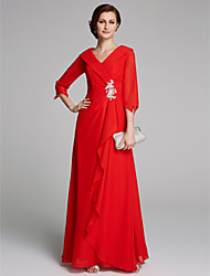 cheap -A-Line V Neck Floor Length Chiffon Half Sleeve Elegant Mother of the Bride Dress with Pleats / Appliques 2020