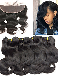 cheap -4 Bundles With Closure Brazilian Hair Body Wave Remy Human Hair Extension Weave 10-26 inch Human Hair Weaves Fashionable Design Soft Best Quality Human Hair Extensions