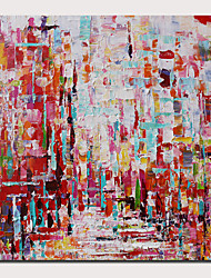 cheap -Oil Painting Hand Painted Abstract Landscape Comtemporary Modern Stretched Canvas With Stretched Frame or Rolled Without Frame