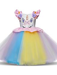 cheap -Princess Midi Party / Birthday Tulle Sleeveless Jewel Neck with Petal / Ruffles / Pattern / Print