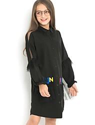 cheap -Kids Girls' Sweet Letter Long Sleeve Knee-length Dress Black / Cotton