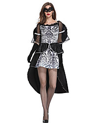cheap -Witch Dress Cosplay Costume Adults' Women's Dresses Halloween Halloween Carnival Masquerade Festival / Holiday Tulle Cotton Black Carnival Costumes Patchwork