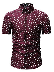 cheap -Men's Polka Dot Print Shirt Classic Collar White / Red