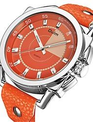 Недорогие -Oulm Муж. Нарядные часы Кварцевый Кожа Оранжевый 50 m Календарь Повседневные часы Крупный циферблат Аналоговый Аналого-цифровые Мода Цветной - Оранжевый