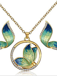 cheap -Women's Stud Earrings Pendant Necklace Vintage Style Butterfly Vintage Bohemian Rhinestone Gold Plated Earrings Jewelry Green / Yellow / Blue For Party Gift 1 set
