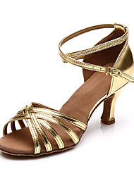 cheap -Women's Dance Shoes Satin Latin Shoes Heel Slim High Heel Customizable Brown / Leopard / Khaki / Performance / Leather