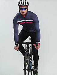cheap -BOESTALK Men's Long Sleeve Cycling Jersey with Bib Tights Winter Fleece Black Blue Plaid / Checkered Stripes Bike Fleece Lining Breathable Back Pocket Sports Plaid / Checkered Mountain Bike MTB Road
