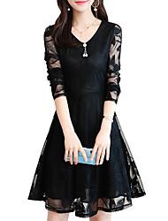 cheap -Women's A Line Dress - Long Sleeve Solid Colored Lace V Neck Basic Black Blue Blushing Pink M L XL XXL XXXL XXXXL XXXXXL