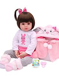 Недорогие -NPKCOLLECTION NPK DOLL Куклы реборн Кукла для девочек Девочки 18 дюймовый Винил - Подарок Очаровательный Искусственная имплантация Коричневые глаза Детские Игрушки Подарок