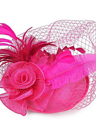 cheap -Women's Ladies Tiaras Fascinators For Wedding Party / Evening Prom Princess Feather Fabric Fuchsia White